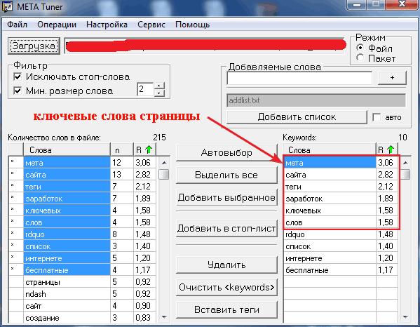 Программа для проверки плотности ключевых слов в тексте Metatuner
