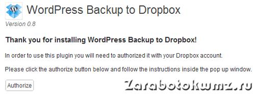 Запуск авторизации на сервисе dropbox