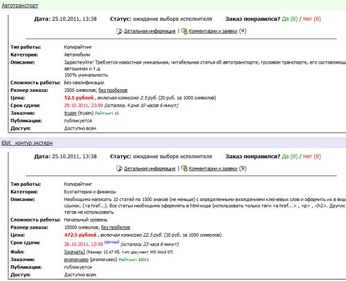 Заказы вебмастеров, которые можно взять в работу на бирже копирайтинга etxt