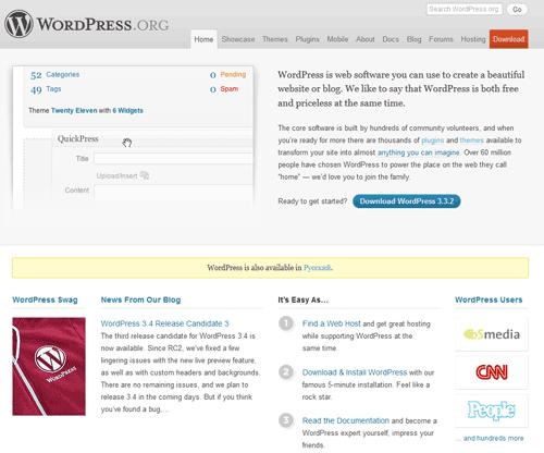 Главная страница сайта WordPress.org