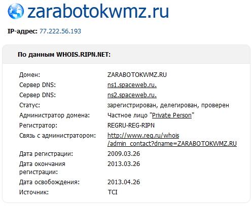 Данные по Whois для моего блога - zarabotokwmz.ru