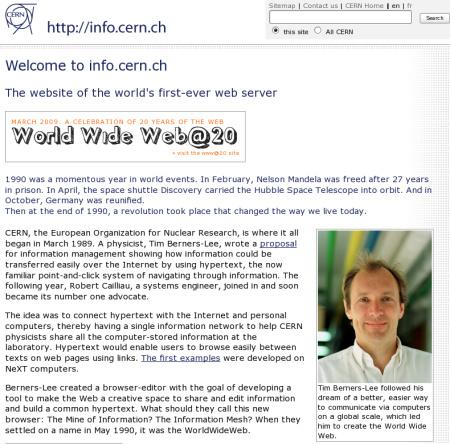 Первый в мире сайт - info.cern.ch появился в 1990 году
