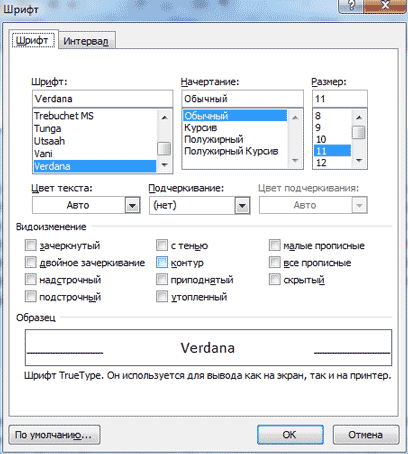 Тип и размер шрифта для сайтов